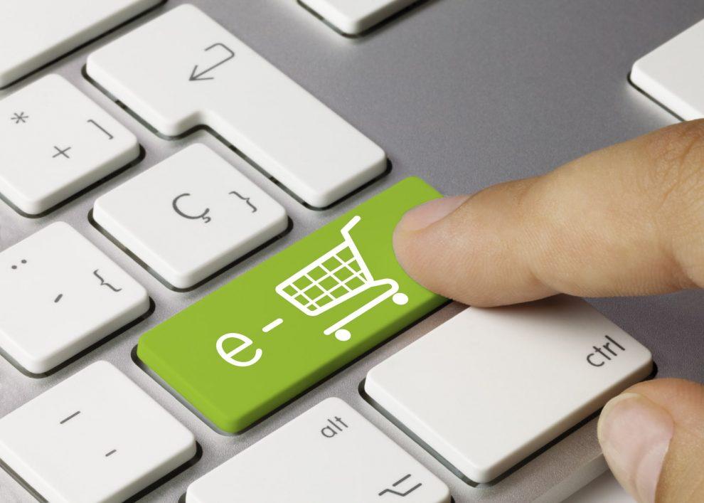 e-shop keyboard key. Finger